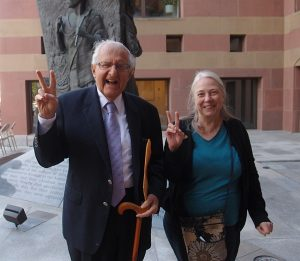 Al Marder poses with New Haven peace activist and Peace Council member Mary Compton at the Peace Day celebration at the Amistad Memorial statue outside New Haven City Hall Sept. 21, 2015.  The statue was built thanks to his guidance and supervision. Marder is chairman of the Amistad Committee.  (photo: cjzurcher)
