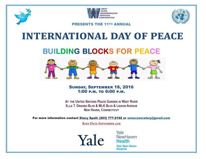 International Day of Peace, Building Blocks for Peace, Sunday, Sept. 18, 2016, at the United Nations Peace Garden in West River